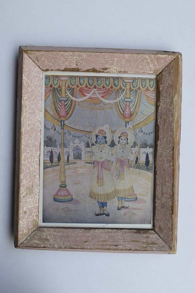 God Rama Laxman Rare Old Religious Print in Old Wooden Frame India Art #3254