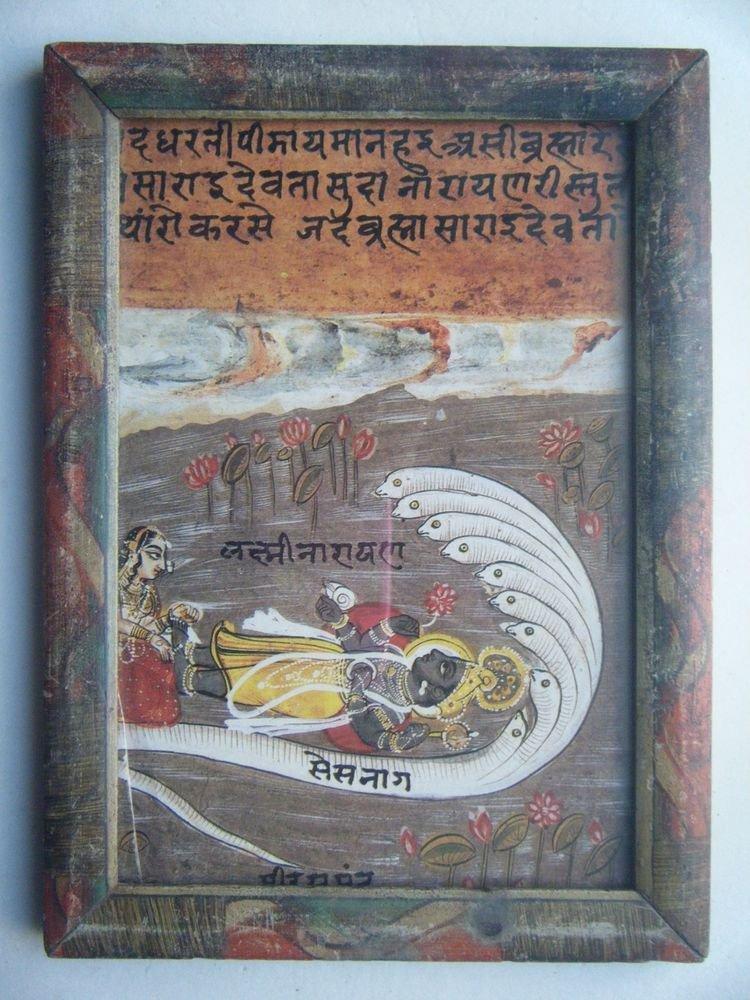 Hindu God Vishnu Nice Old Religious Print in Old Wooden Frame India Art #2818