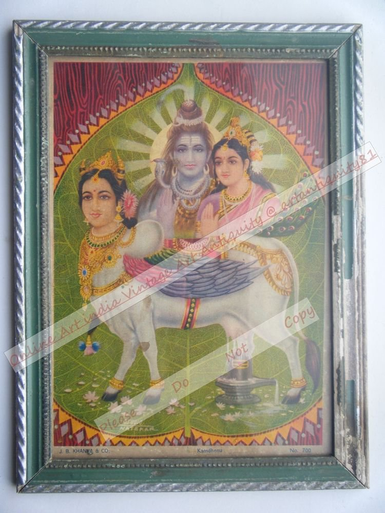 Holy Cow Kaamdhenu Nice Old Religious Print in Old Wooden Frame India Art #2498
