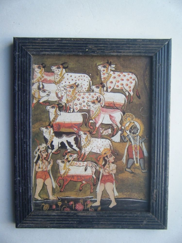 Hindu God Krishna Nice Old Religious Print in Old Wooden Frame India Art #2820