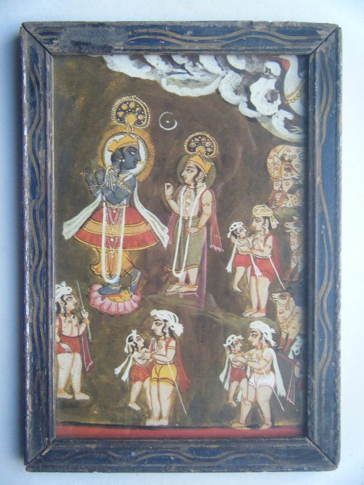 Hindu God Krishna Old Religious Print in Old Wooden Frame India Art #2822