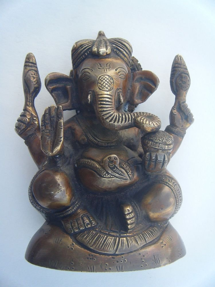 GANESHA Brass Statue Vintage Traditional Indian Elephant God Small Figure #968