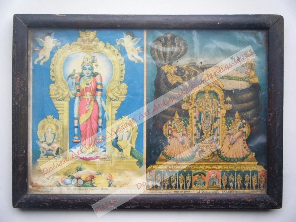 Goddess Meenakshi Rare Old Religious Print in Old Wooden Frame India Art #2536