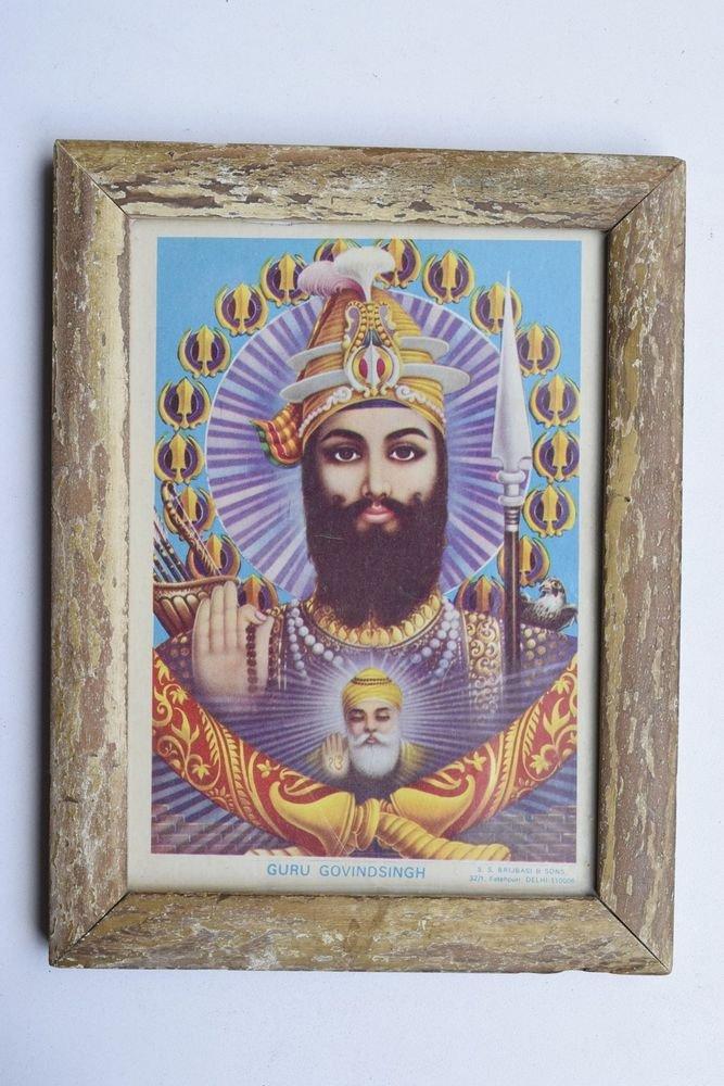 Sikh Guru Govind Singhji Old Religious Print in Old Wooden Frame India Art #3217