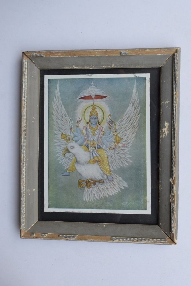 Vishnu Collectible Rare Old Religious Art Print in Old Wooden Frame #3315