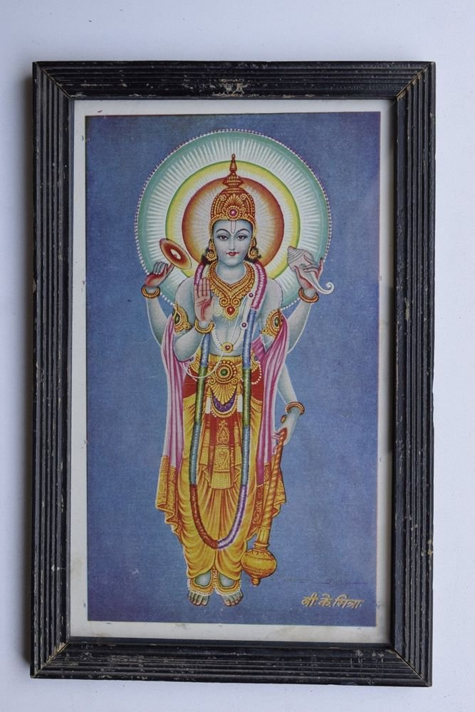 Vishnu Collectible Rare Old Religious Art Print in Old Wooden Frame #3316