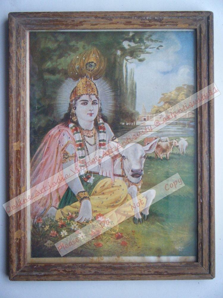 Hindu God Krishna Nice Old Religious Print in Old Wooden Frame India Art #2453
