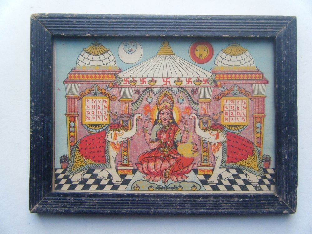 Goddess Laxmi Old Religious Litho Print in Old Wooden Frame India Art #2862