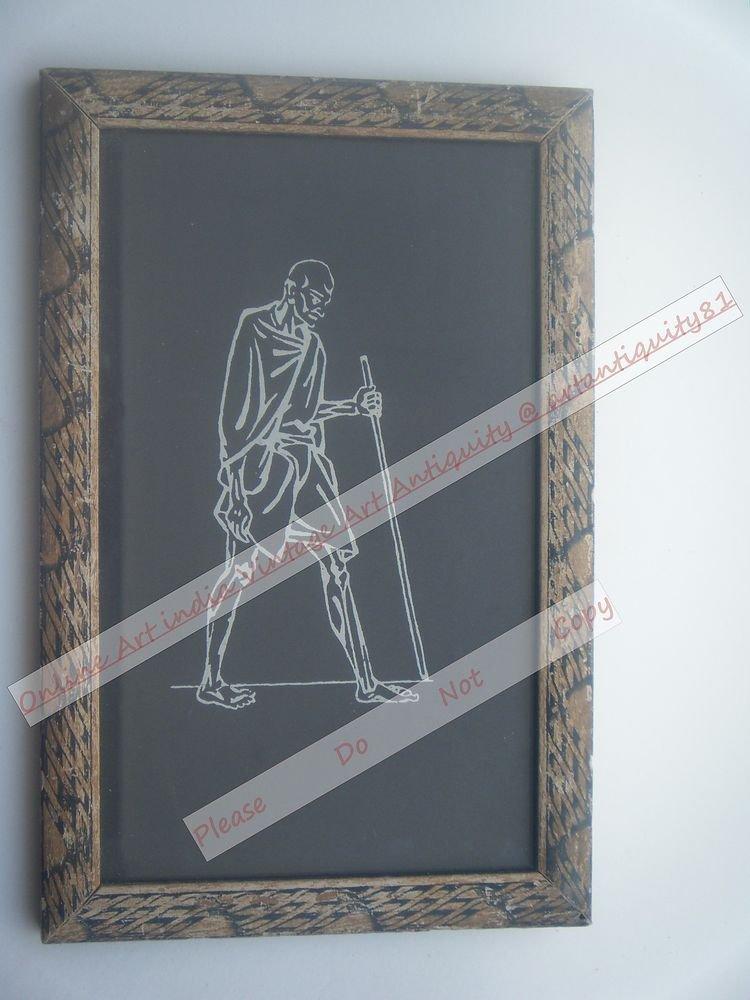 Beautiful Signed Art Print of Gandhi Ji in Old Handmade Wooden Frame India #2386