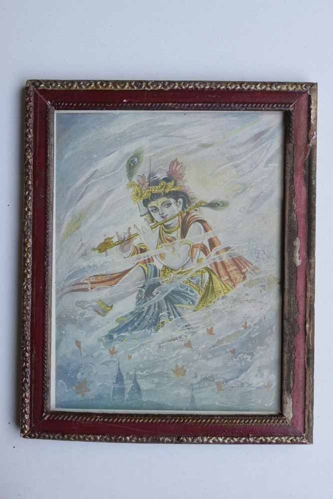Krishna Collectible Rare Old Art Print in Old Wooden Frame from India #3304
