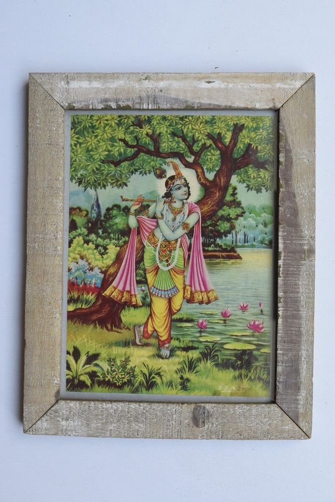 Krishna Collectible Rare Old Art Print in Old Wooden Frame from India #3299