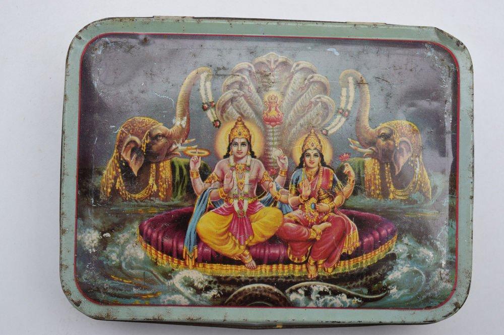Old Sweets Tin Box, Rare Collectible Litho Printed Tin Boxes India #1456