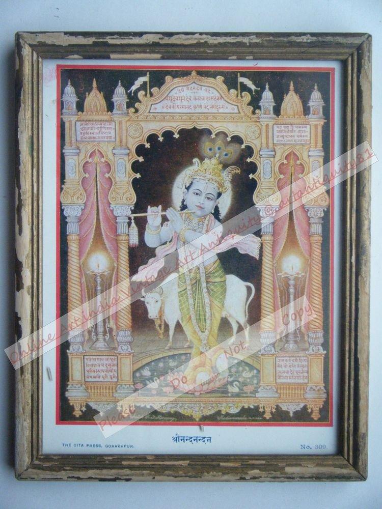 Hindu God Krishna Nice Old Religious Print in Old Wooden Frame India Art #2454