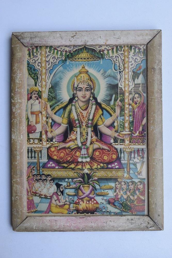 Goddess Santoshi Mata Ji Rare Old Religious Art Print in Old Wooden Frame #3350