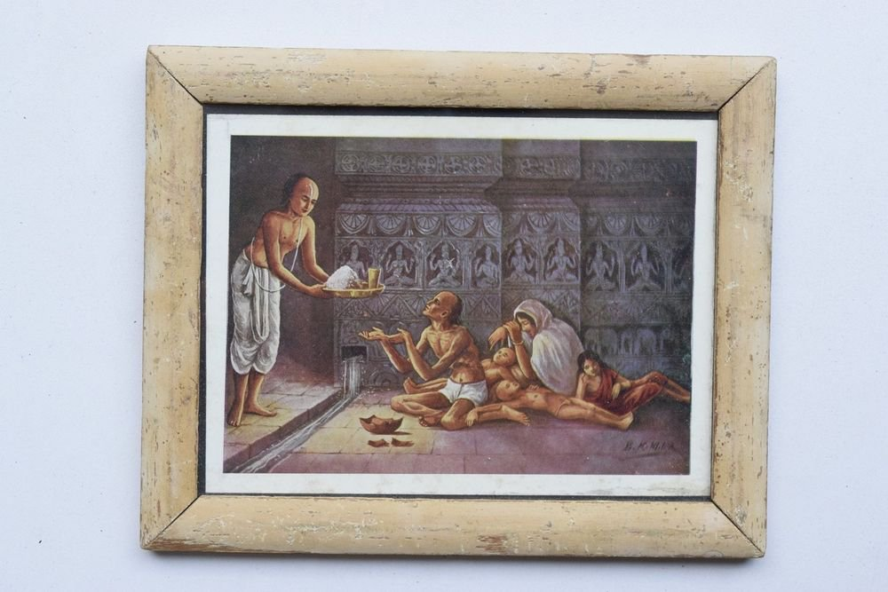 Saint Wise Man Rare Collectible Old Art Print in Old Wooden Frame India #3276