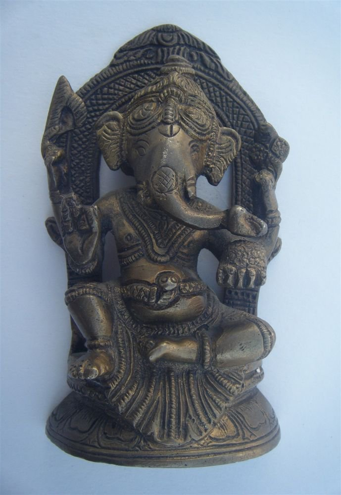 GANESHA Brass Statue Vintage Traditional Indian Elephant God Small Figure #962