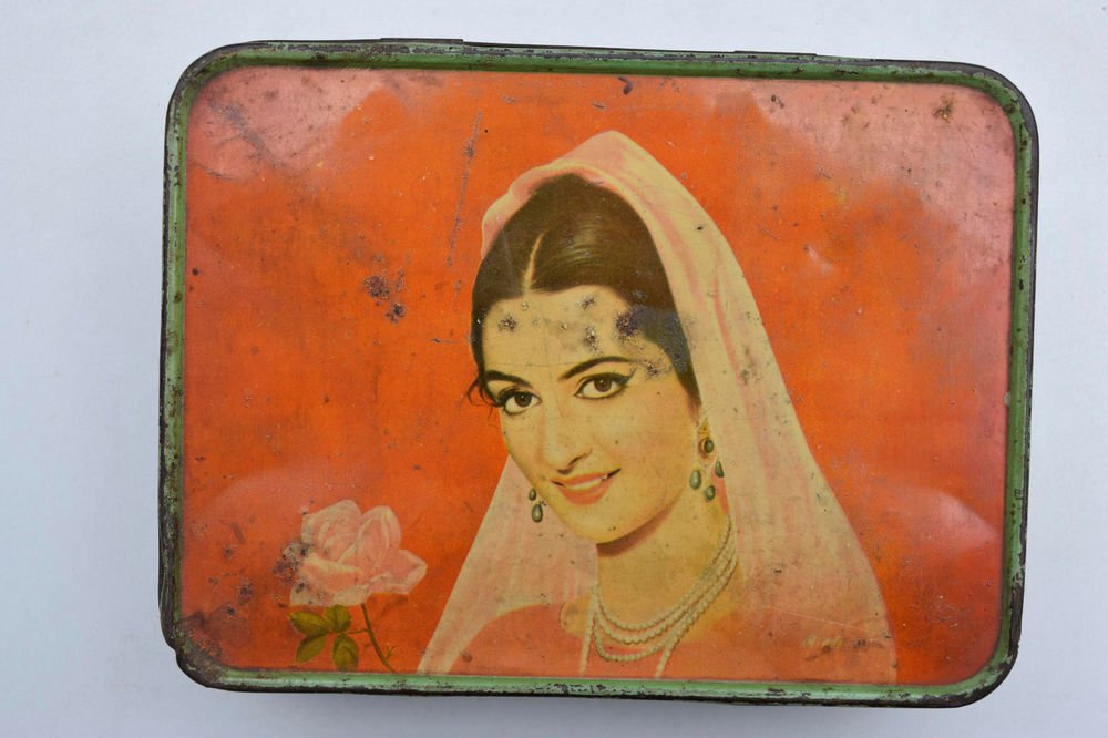 Old Sweets Tin Box, Rare Collectible Litho Printed Tin Boxes India #1467