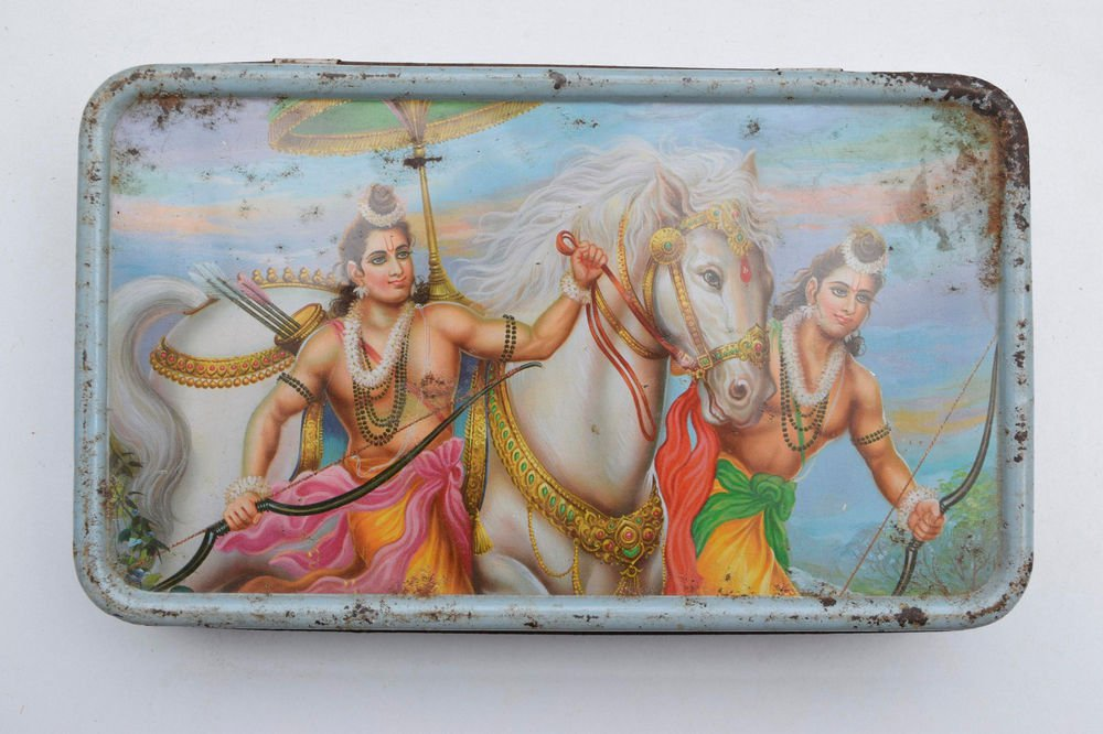 Old Sweets Tin Box, Rare Collectible Litho Printed Tin Boxes India #1464