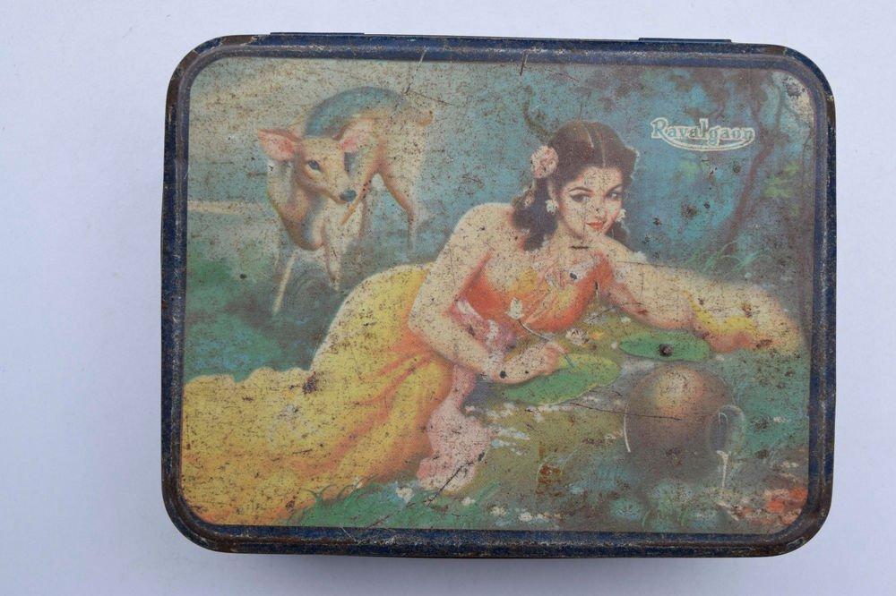 Old Sweets Tin Box, Rare Collectible Litho Printed Tin Boxes India #1465
