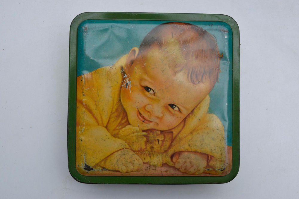 Old Sweets Tin Box, Rare Collectible Litho Printed Tin Boxes India #1475