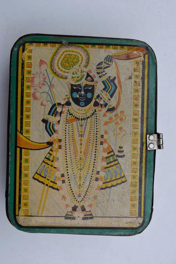 Old Sweets Tin Box, Rare Collectible Litho Printed Tin Boxes India #1462
