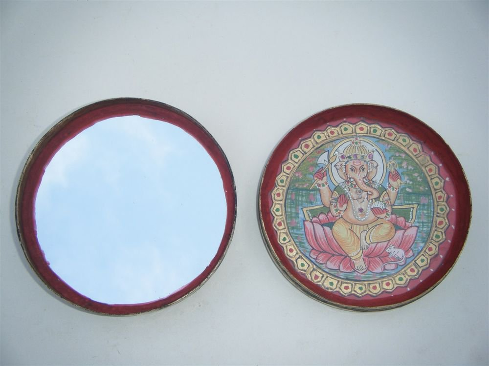 GATTAJI Antique Brass Box with INDIAN Miniature Painting Hindu God Worship #1090