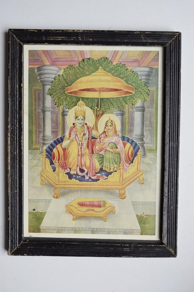 God Rama Ramayana Rare Old Religious Print in Old Wooden Frame India Art #3133