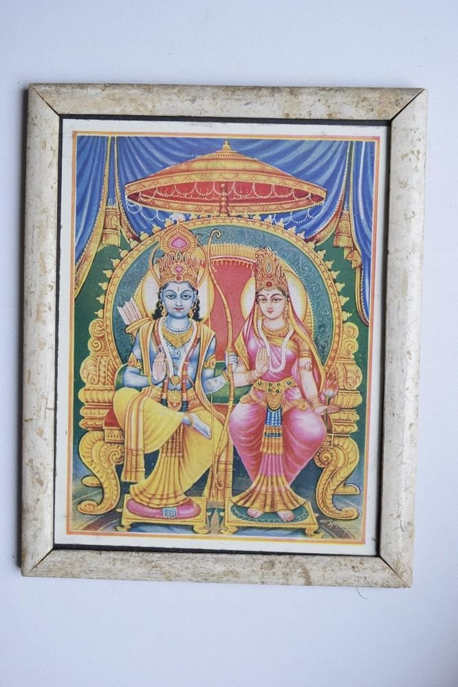 God Rama Ramayana Rare Old Religious Print in Old Wooden Frame India Art #3134
