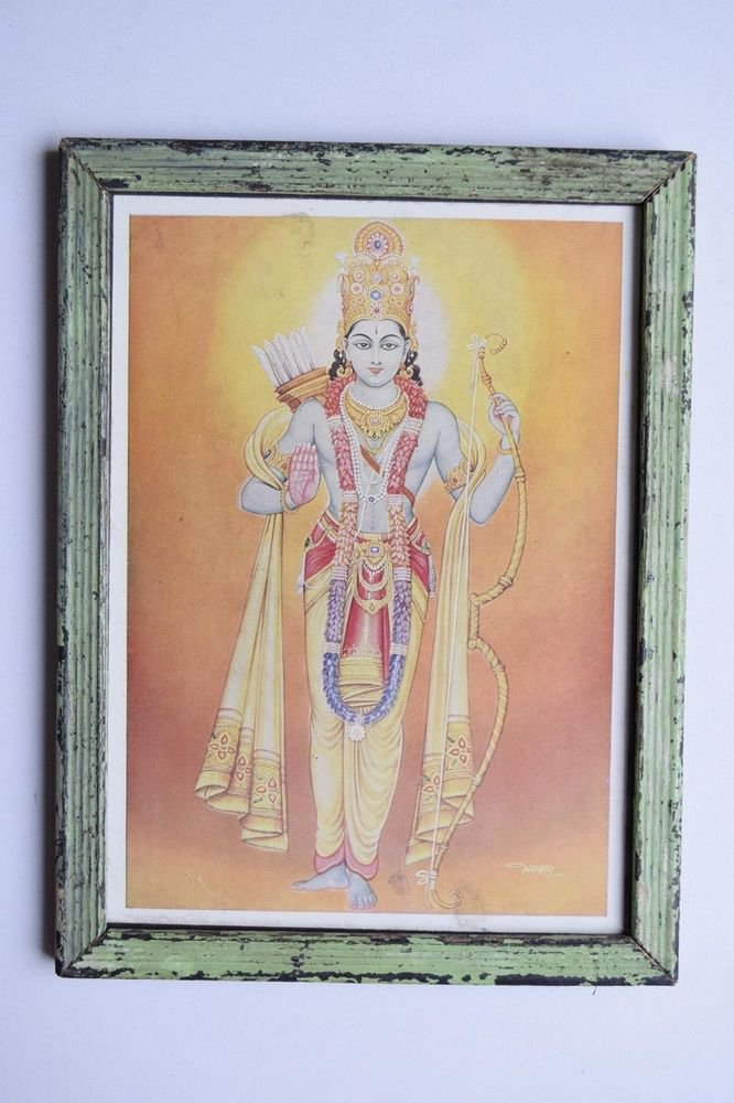Lord Rama Ramayana Rare Old Religious Print in Old Wooden Frame India Art #3120