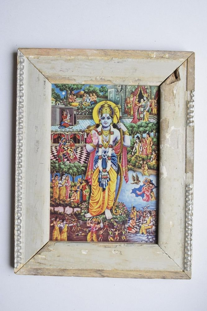 Lord Rama Ramayana Rare Old Religious Print in Old Wooden Frame India Art #3123