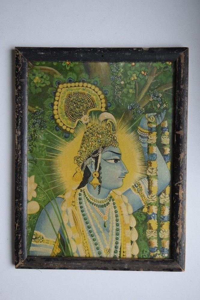 Hindu God Krishna Rare Old Religious Print in Old Wooden Frame India Art #3045