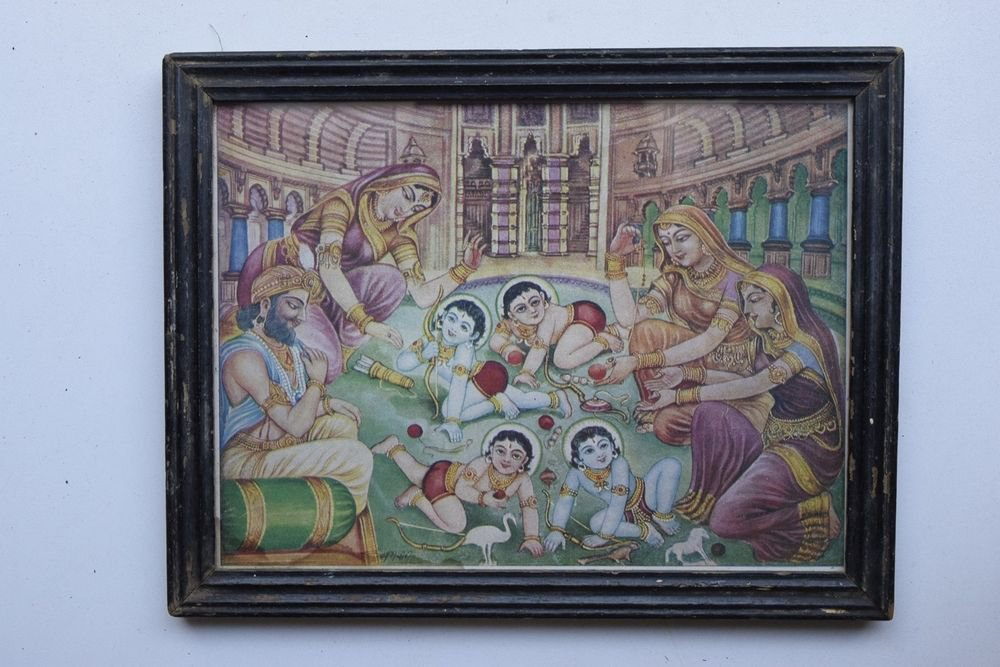 Rama Family Collectible Rare Old Art Print in Old Wooden Frame from India #3289