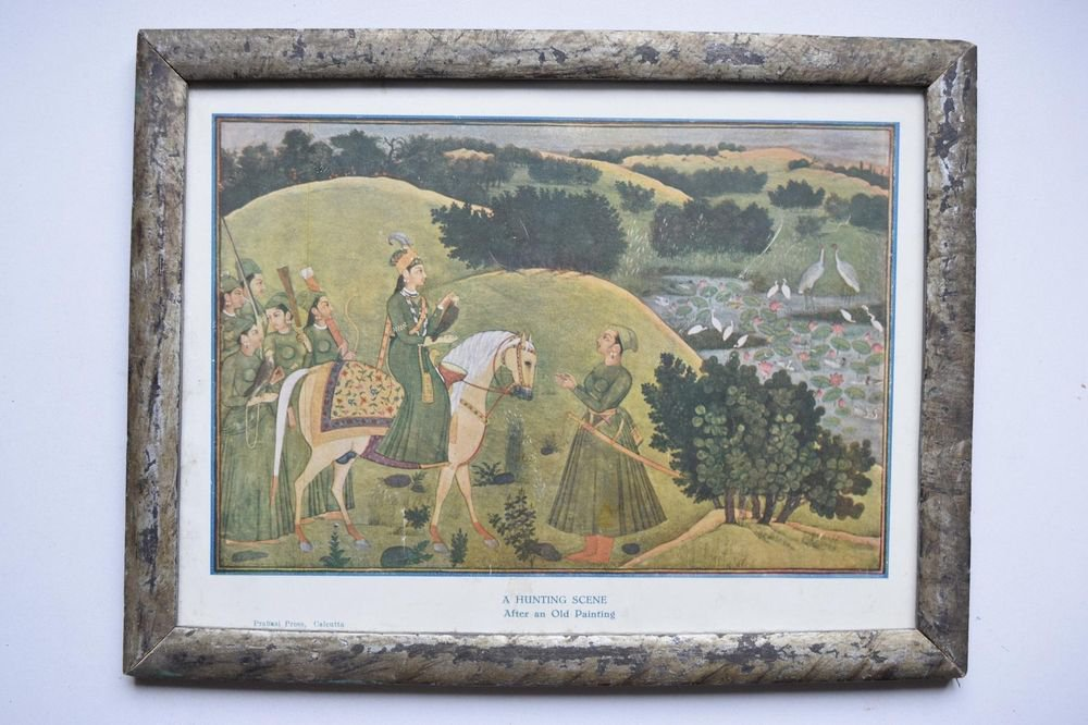 A Hunting Scene Collectible Rare Old Print in Old Wooden Frame India Art #3138