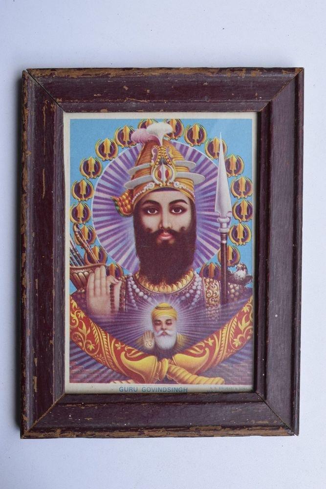 Sikh Guru Govind Singhji Old Religious Print in Old Wooden Frame India Art #3272