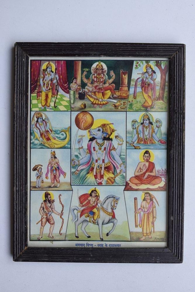Vishnu Avatar Collectible Rare Old Religious Art Print in Old Wooden Frame #3328