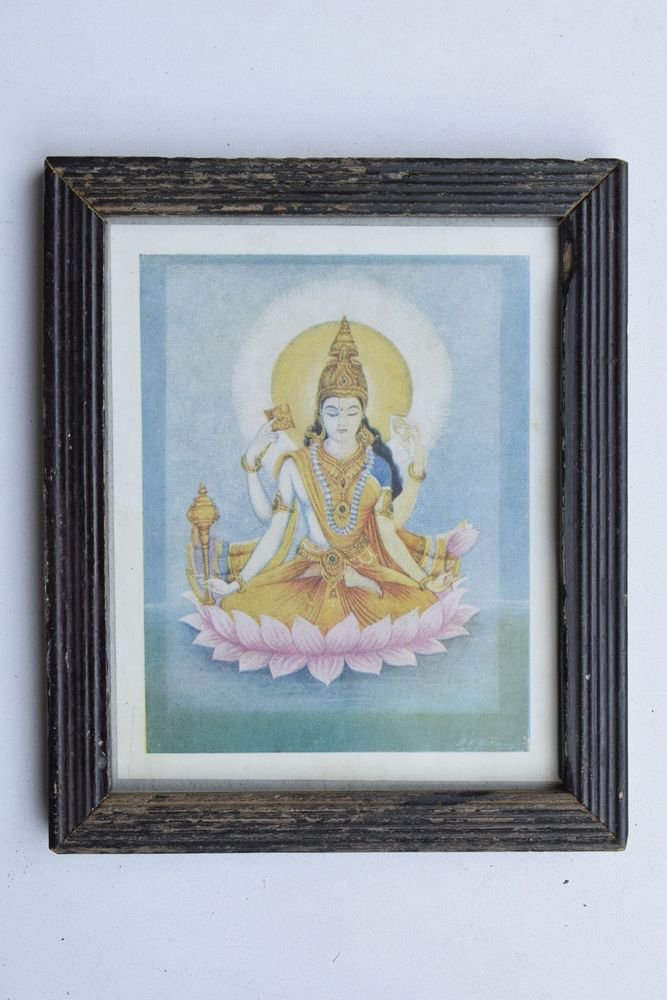 Vishnu Laxmi Collectible Rare Old Religious Art Print in Old Wooden Frame #3345