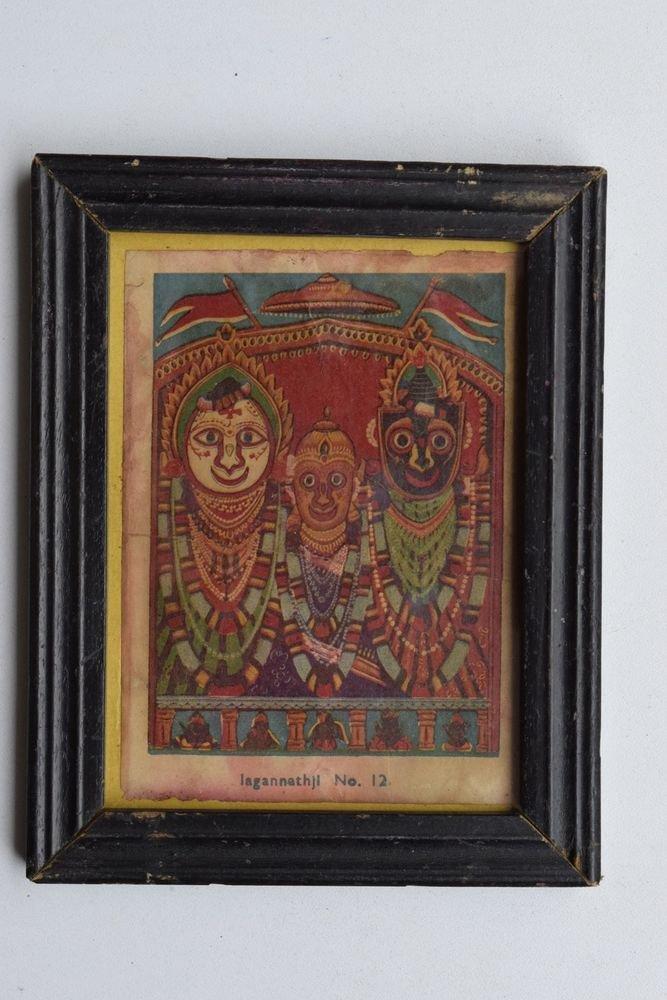 Rare Jagannath Puri Krishna Balraam Subhdra Original Old Print Orissa #3207