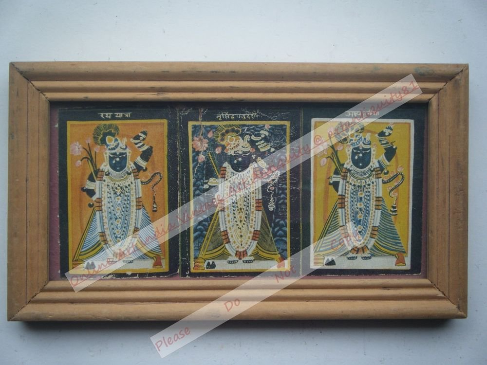 Shrinathji Krishna Avatar Home Worship Old Print in Old Wooden Frame India #2552
