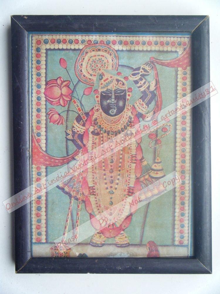 Shrinathji Krishna Avatar Home Worship Old Print in Old Wooden Frame India #2556