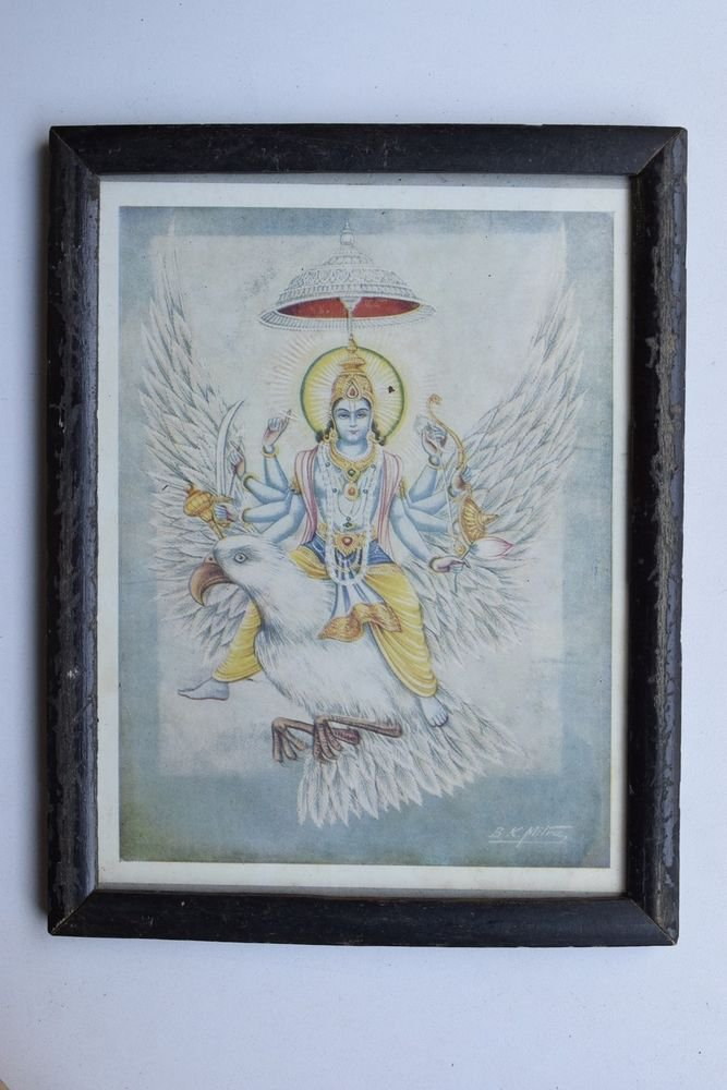 Vishnu Collectible Rare Old Religious Art Print in Old Wooden Frame #3319