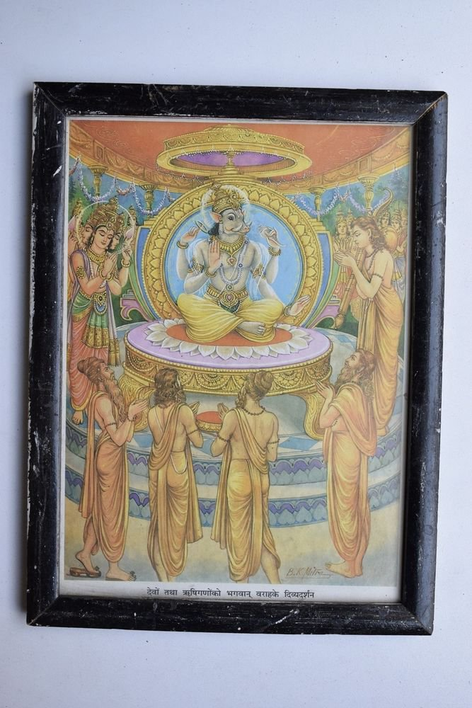 Vishnu Avatar Collectible Rare Old Religious Art Print in Old Wooden Frame #3330