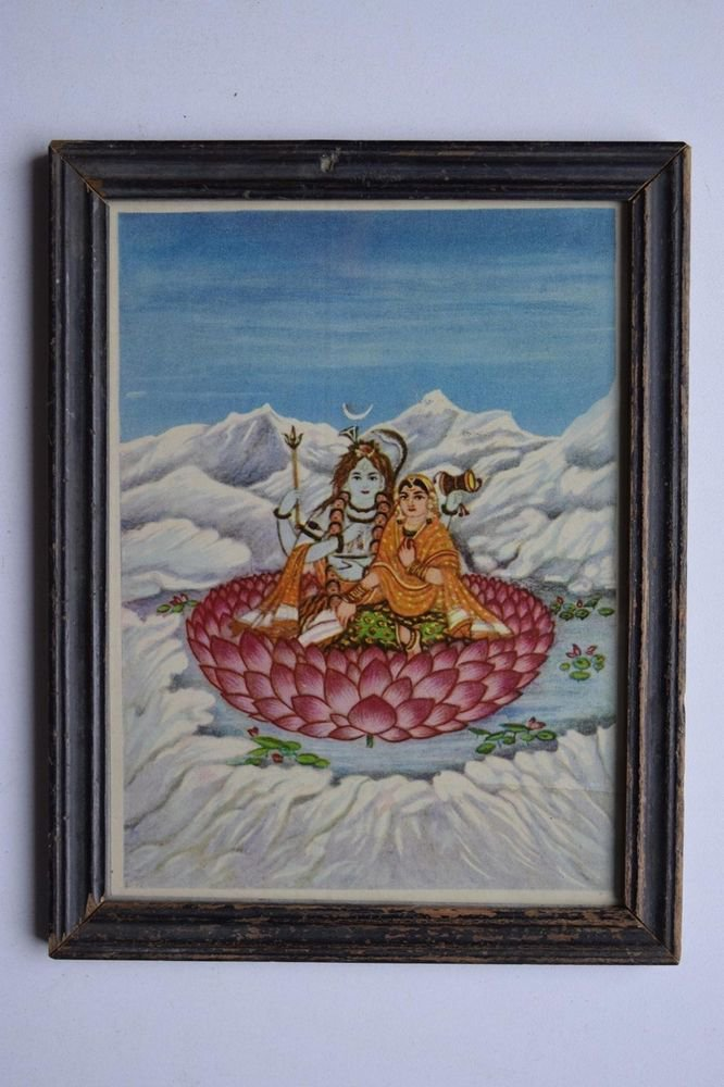 Hindu God Shiva Parvati Collectible Old Religious Print in Old Wooden Frame#3158