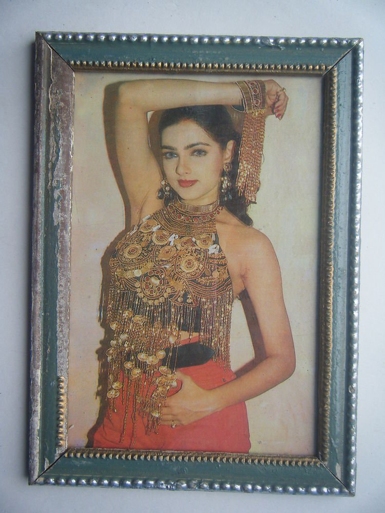 Bollywood Actress Heroin Collectible Old Print in Old Wooden Frame India #2740