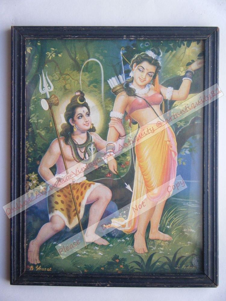Hindu God Shiva Parvati Rare Print in Hand Coloured Old Wooden Frame India #2419