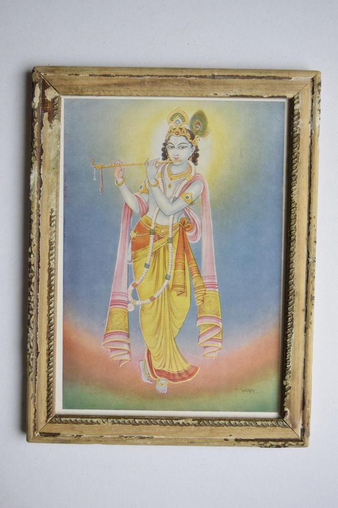 God Krishna Rare Collectible Old Religious Print in Old Wooden Frame #3172