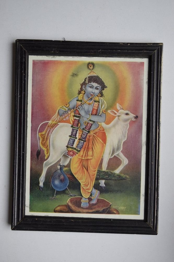 God Krishna Rare Collectible Old Religious Print in Old Wooden Frame #3169