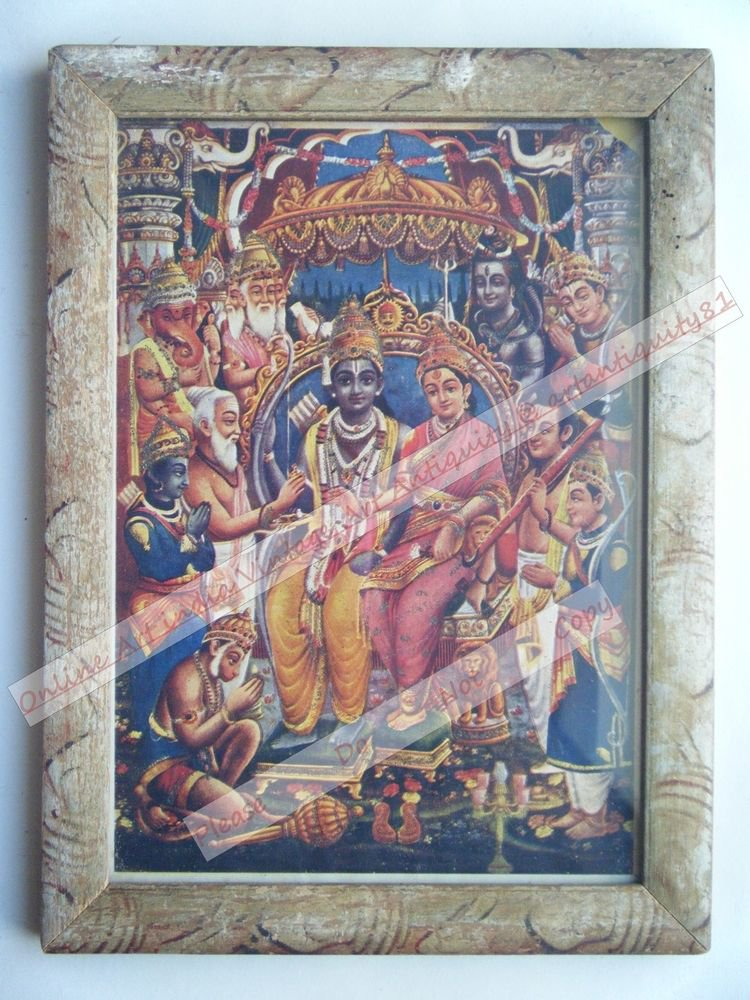 Hindu God Rama Ramayana Rare Print in Hand Coloured Old Wooden Frame India #2426