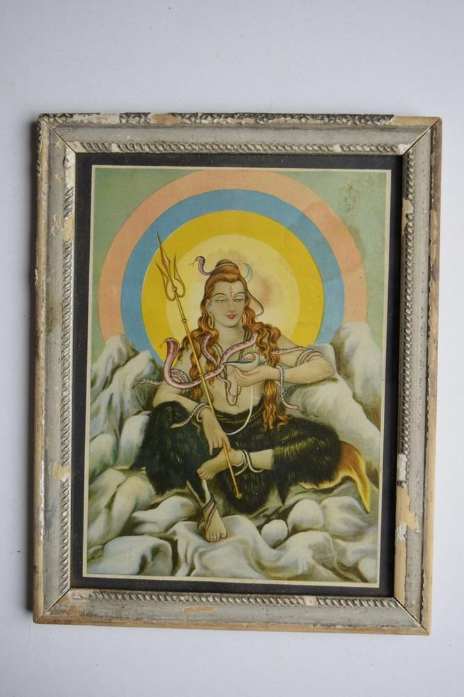 Hindu God Shiva Shiv Collectible Old Religious Print in Old Wooden Frame #3156