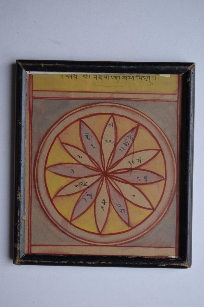 Rare Cosmology Hand Coloured Original Painting in Old Wooden Frame India #3074