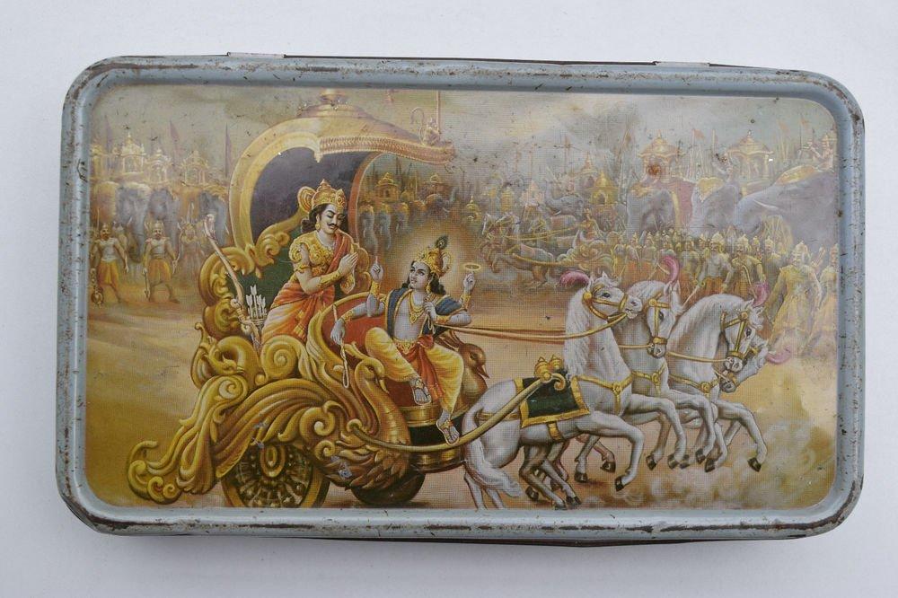 Old Sweets Tin Box, Rare Collectible Litho Printed Tin Boxes India #1459